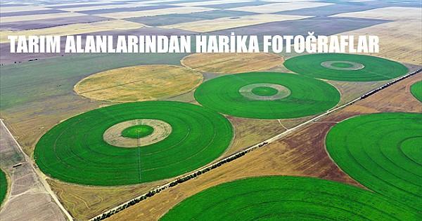 Konya'nın devasa dairesel tarlaları gökyüzünden görüntülendİ