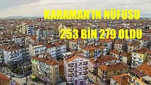 Karaman nüfusu 1 366 kişi arttı