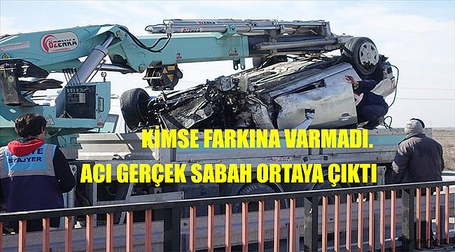 Konya'da otomobil gece suluma kanalına düştü, sabah fark edildi