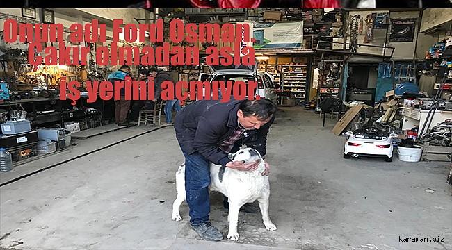 Karaman'lı tamirci Ford Osman'ın sokak köpeği Çakırla dostlugu görenleri kıskandırıyor